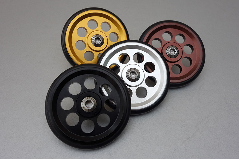 The new colours and sizes of installations bolts are now in both 66mm and larger 88mm versions of the EZY Wheels.