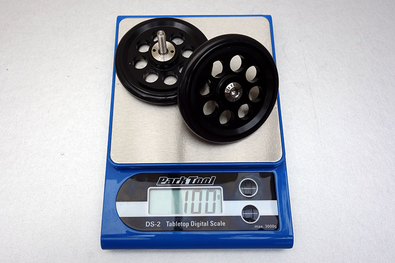 Each pair of wheels weight about 100 grams.